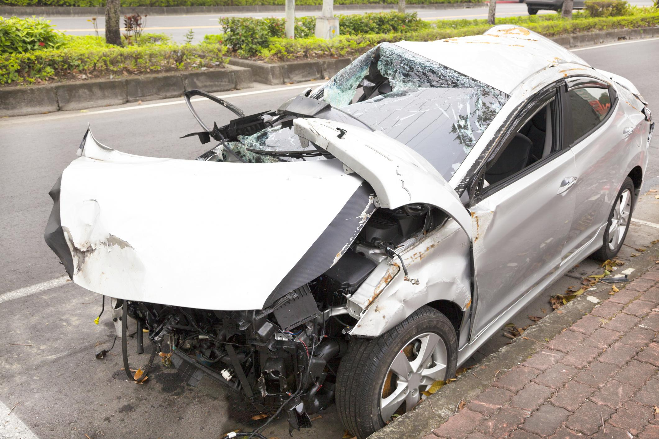 car-accident-and-wrecked-car-on-the-road